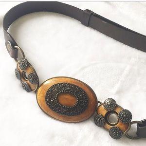 Chico's Brown leather dressy belt buckle belt M/L
